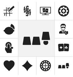 Set of 12 editable casino icons includes symbols vector