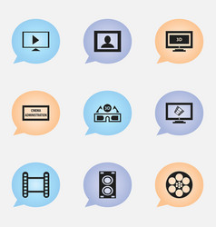 Set of 9 editable filming icons includes symbols vector