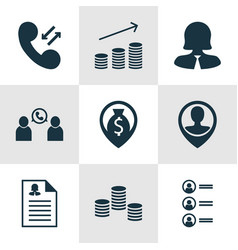 set of 9 human resources icons includes phone vector image