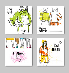 set of greeting cards with love my mom lettering vector image