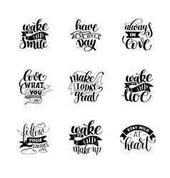 Set of handwritten lettering positive quote about vector