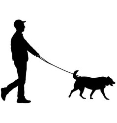 Silhouette of man and dog on a white background vector