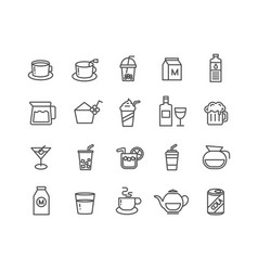 simple set beverage thin line icons editable vector image