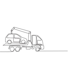 single continuous line drawing tow truck is vector image