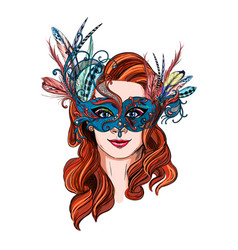 smiling woman in luxury carnival mask and feathers vector image