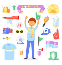 Soccer fan football character people with vector