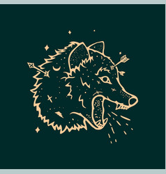 Sorcery wolf background vector