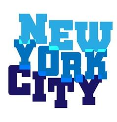 T shirt typography graphics New York blue vector