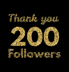 Thank you 200 followerstemplate for social media vector