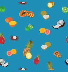 Tropic exotic fruits blue seamless pattern vector