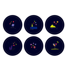 Universe space nature star cutout circle sticker vector