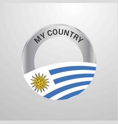 Uruguay my country flag badge vector