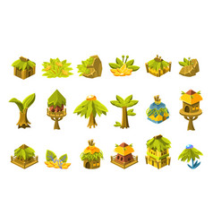 video game tropical forest design collection of vector image