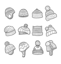 winter hat cold season clothes warm ears flapping vector image