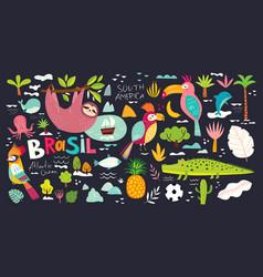 With symbols brazil animals br vector