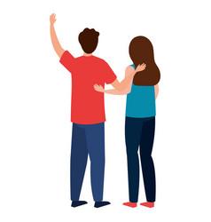 Woman and man avatar backwards design vector