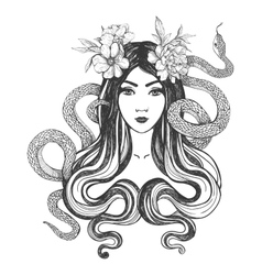 Woman with flowers and snakes Tattoo art vector