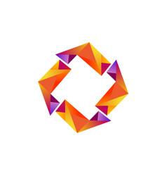 yellow diamond triangle logo vector image