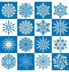 16 snowflakes vector image vector image