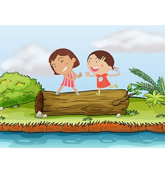 Children and a log vector image