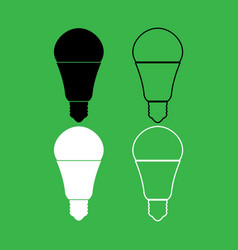 led lightbulb icon black and white color set vector image vector image