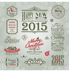 set of christmas and new year design elements vector image vector image