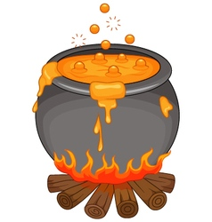 Cartoon Halloween cauldron isolated vector image
