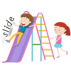 Children playing on the slide vector image vector image