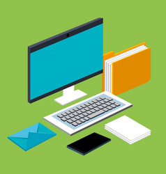 computer mobile phone mail file folder documents vector image