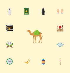 flat icons minaret prayer carpet muslim woman vector image