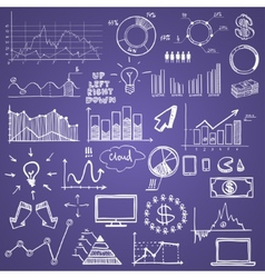 hand draw doodle web charts business finanse vector image vector image