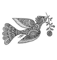 Hand drawn of ornamental fancy bird with flower vector image