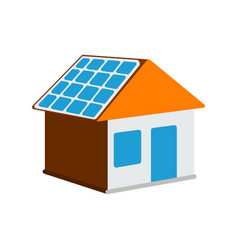 house with solar battery icon sun energy label vector image vector image