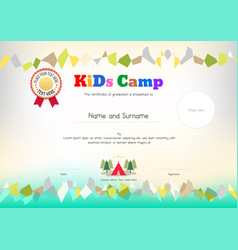 Kids summer camp document certificate template vector image kids summer camp diploma or certificate template vector image vector image yelopaper Image collections