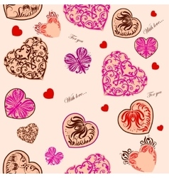 Seamless background with decorative hearts vector image vector image
