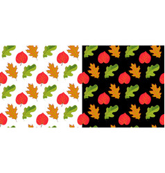 set of two seamless pattern with hand drawn leaves vector image