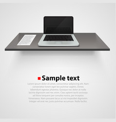 table with computer on white background vector image