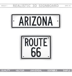 arizona route 66 creative 3d signboard vector image