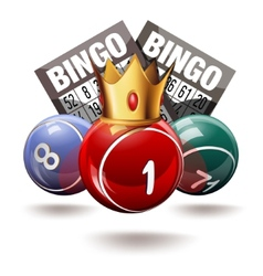 Bingo or lottery balls and cards with crown vector image vector image