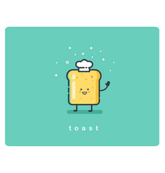 bread toast funny character vector image