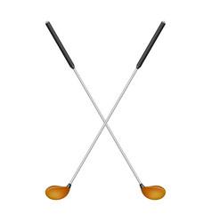 crossed golf clubs in retro design vector image vector image