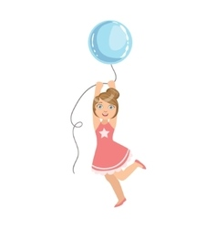Girl jumping holding big blue balloon vector
