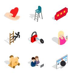 hand element icons set isometric style vector image