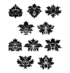 Lush black floral design elements vector