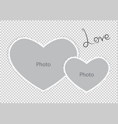 romantic photo frame form hearts of st valentines vector image