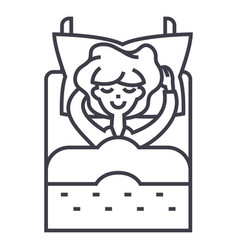 sleeping woman in bed line icon sig vector image
