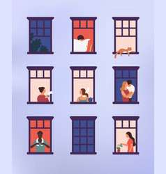 Windows with neighbors doing daily things in their vector