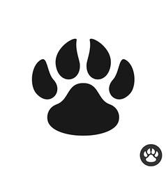 Animal paw black simple flat icon foot step print vector