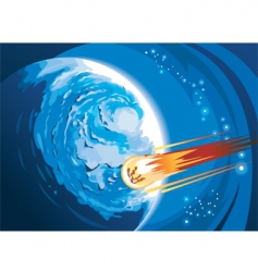 comet flying over a planet vector image vector image