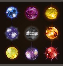 disco balls discotheque dance music party vector image
